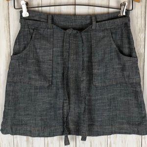 Monteau Chambray Front Pockets Mini Skirt